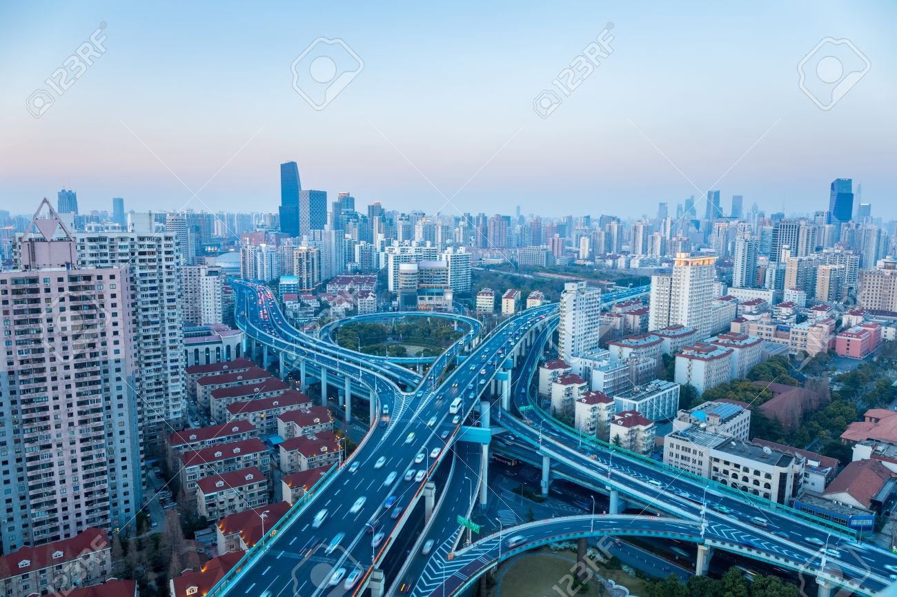 Bangkok city skyline at night - Skytrain train line &amp- main tourist ...