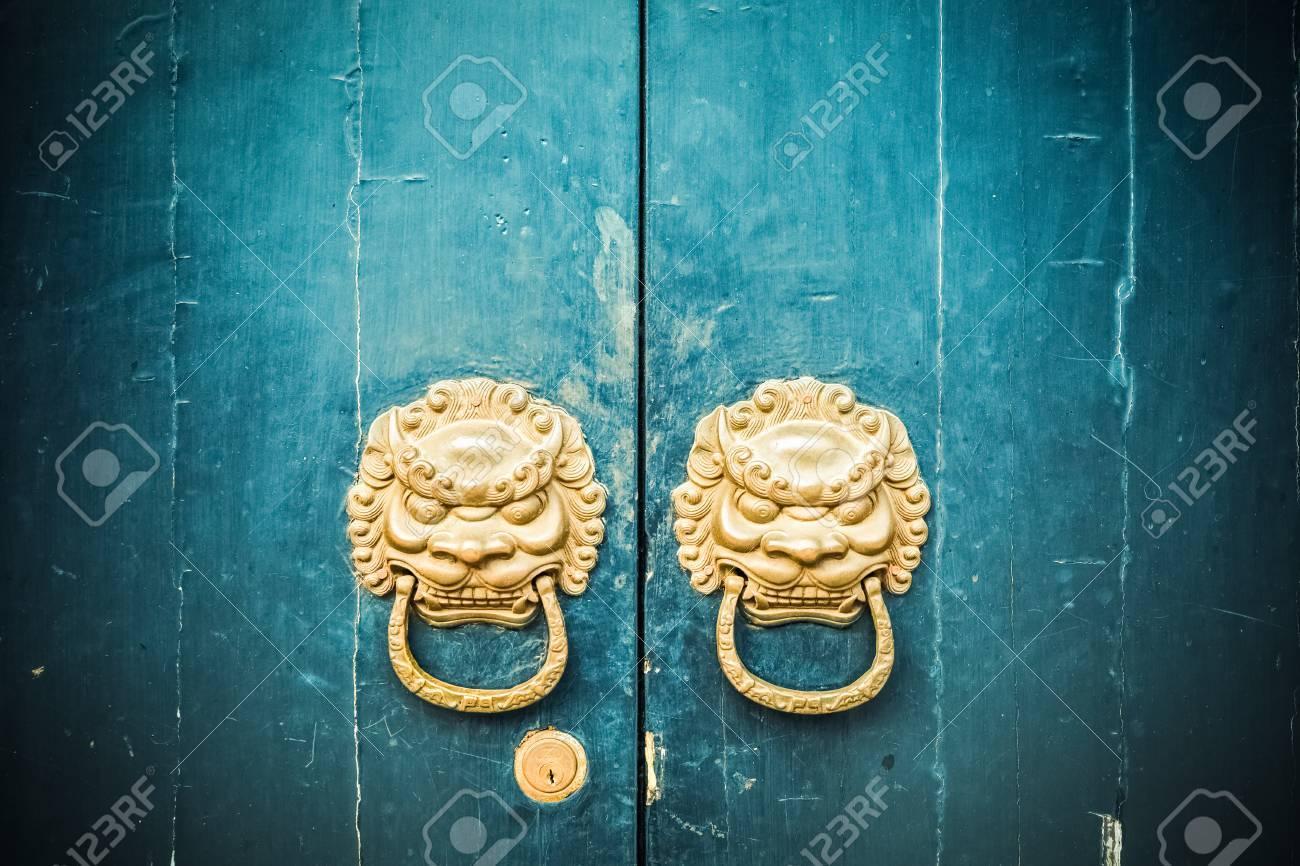 closeup of the antique oriental door knocker Stock Photo - 48409994 - Closeup Of The Antique Oriental Door Knocker Stock Photo, Picture