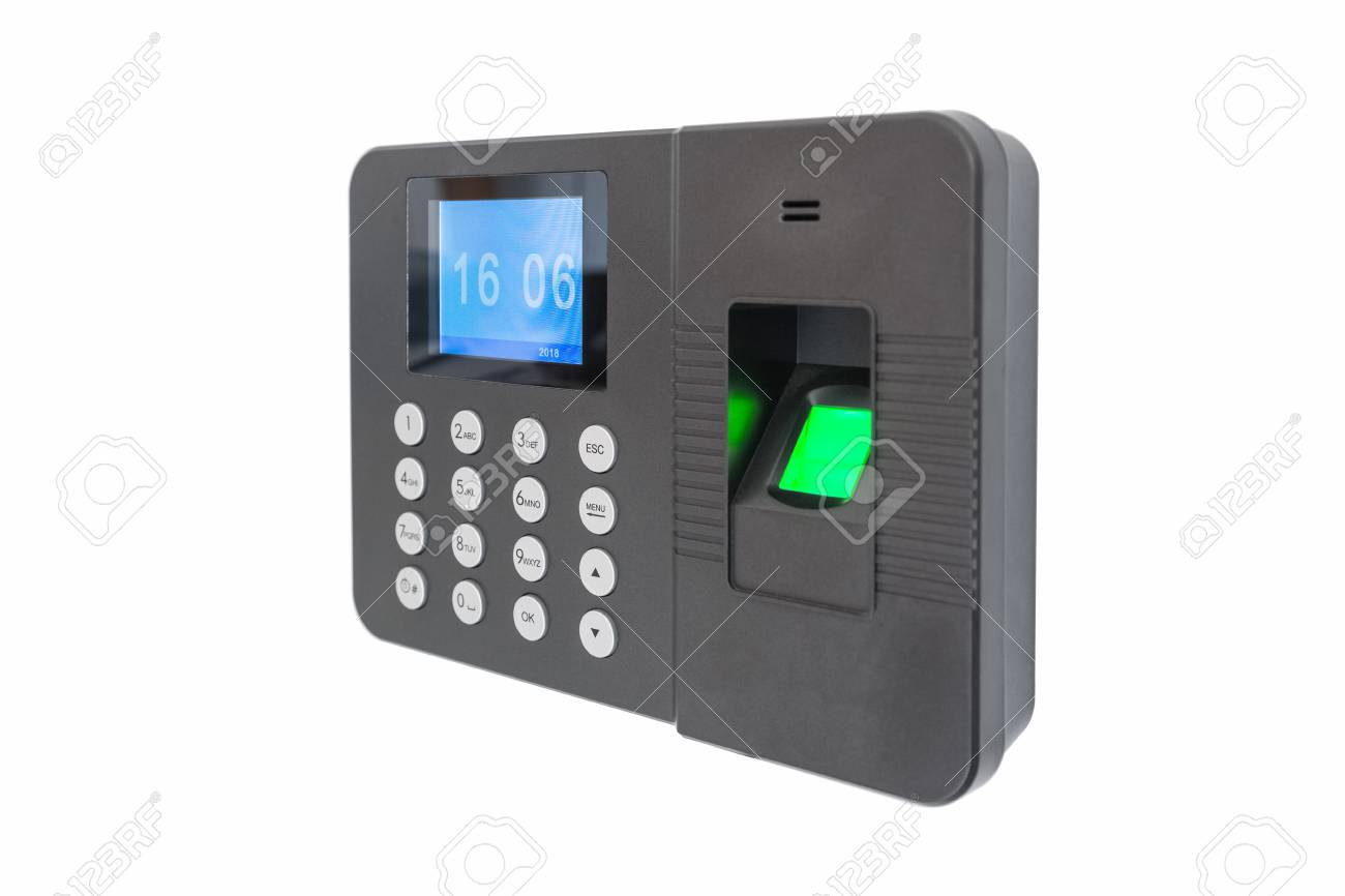 fingerprint attendance machine isolated on white background