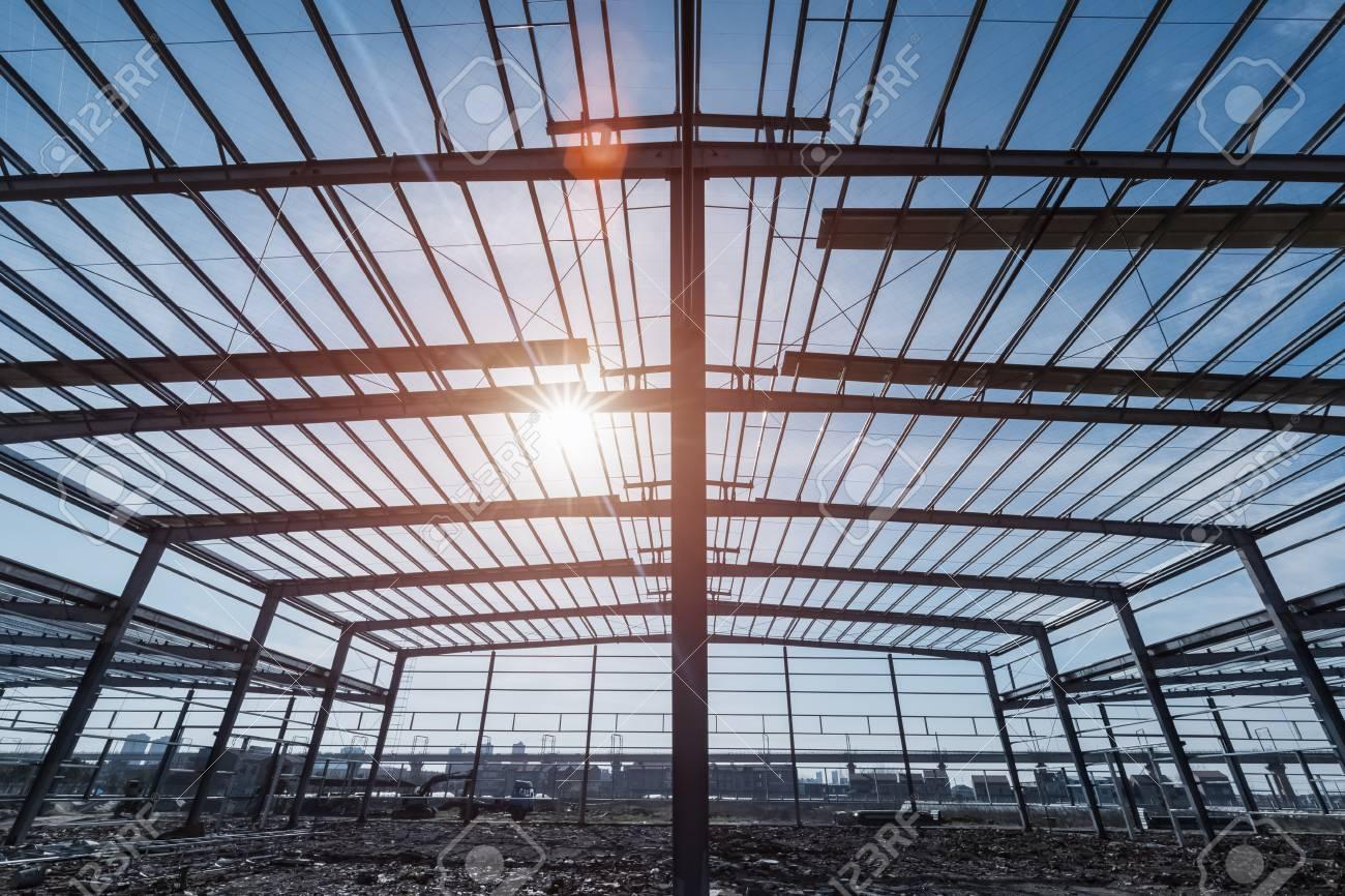 Steel Structure Workshop Closeup , Steel Frame Factory Buildings ...
