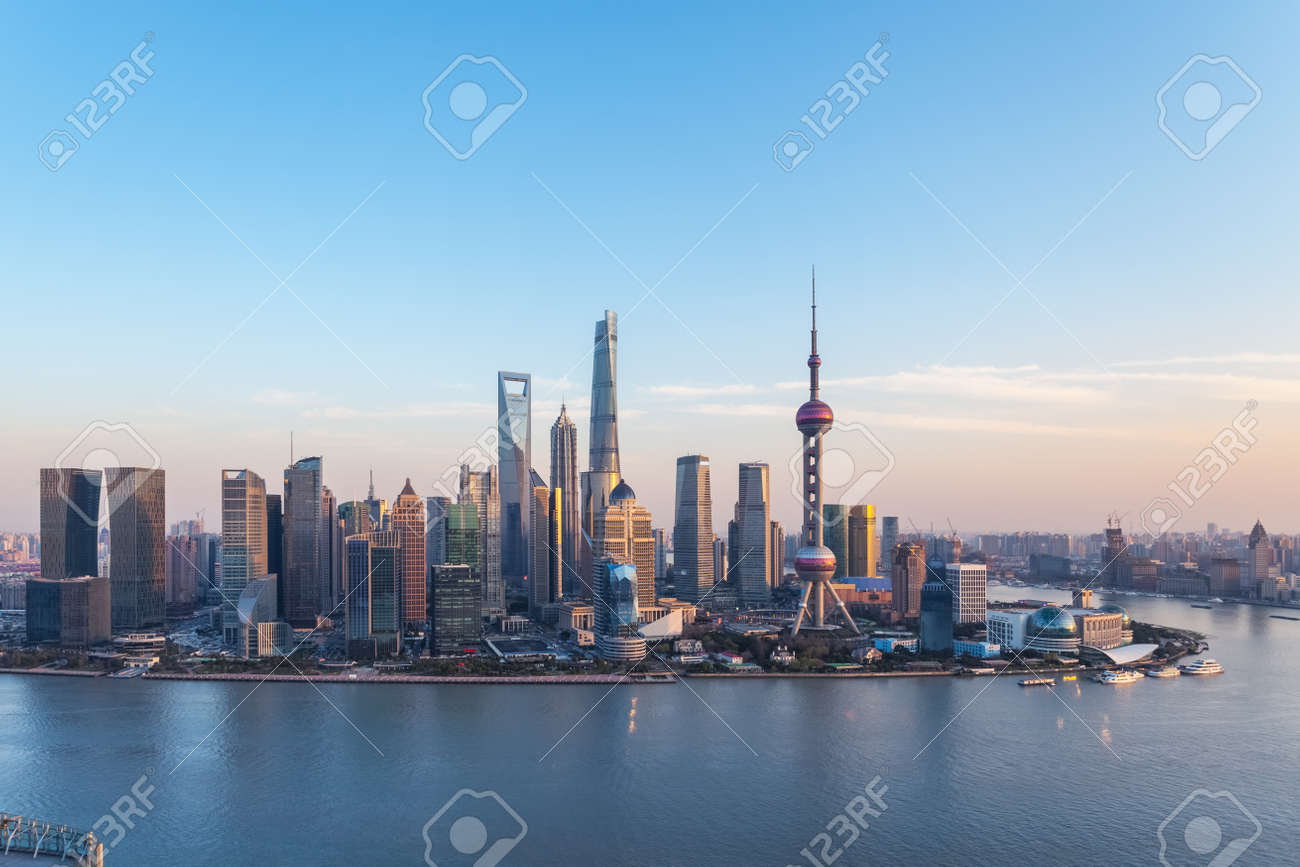 charming shanghai skyline in twilight, pudong financial center and huangpu river, China - 151848529