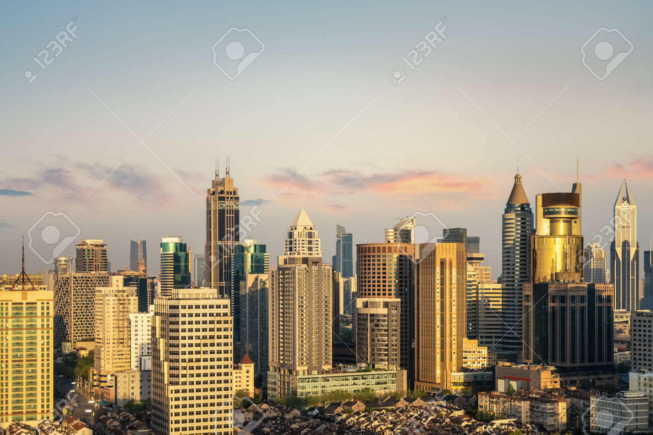 modern urban background of shanghai in early morning - 165409302