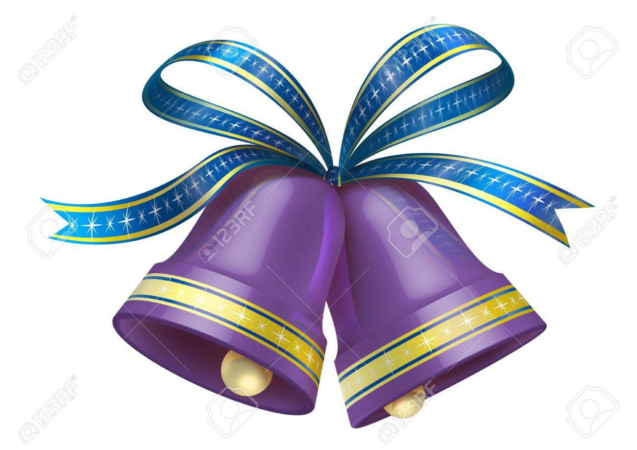 christmas bells in purple colour stock photo 8234089