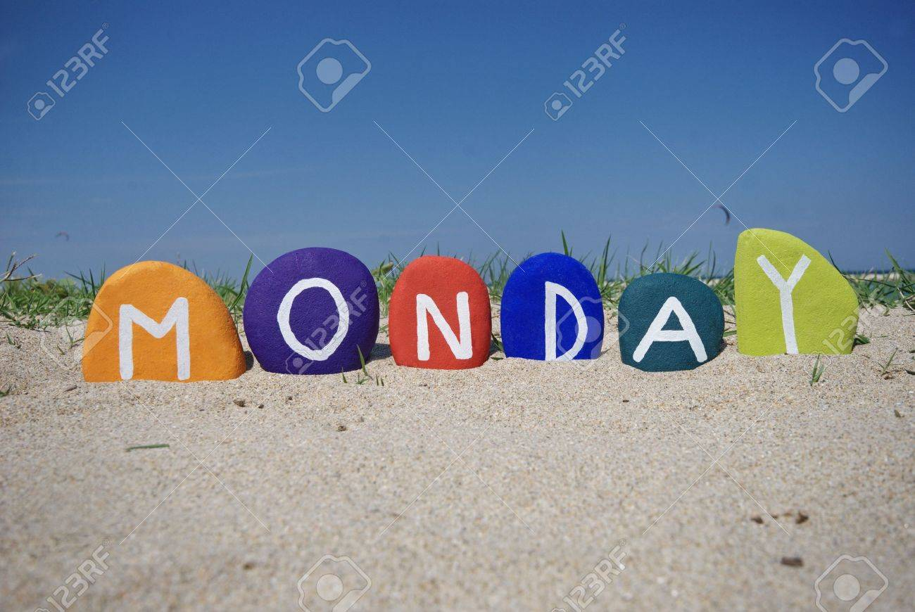 Monday, first day of the week on colourful stones Stock Photo - 13892624