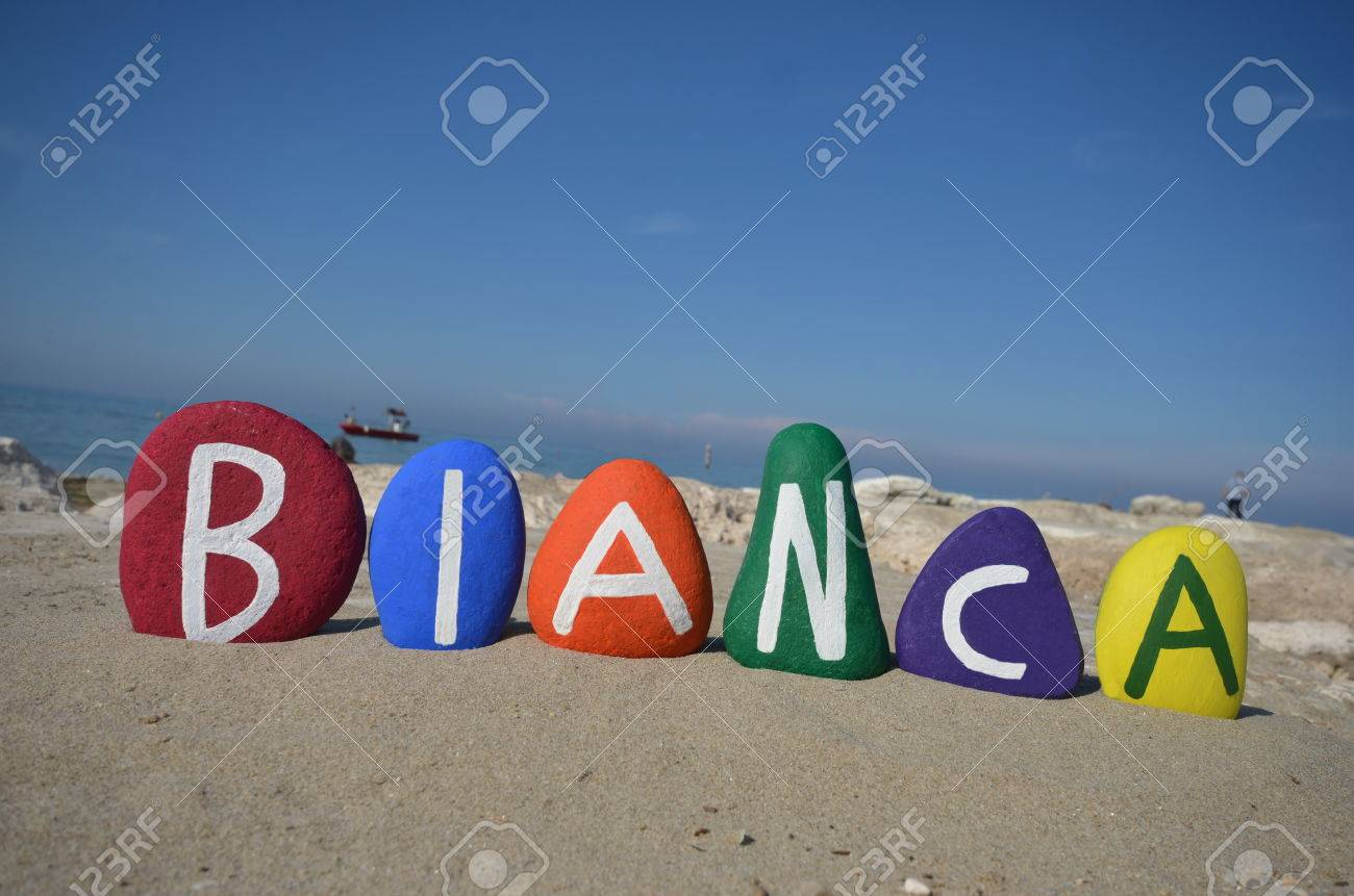 Bianca, Female Name On Colored Stones Stock Photo, Picture And ...
