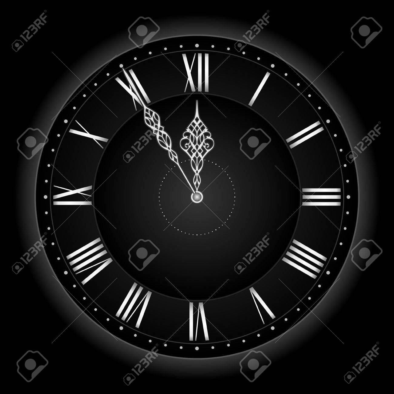 Five to twelve... or time's nearly up! Stylish and elegant vector clock with the hands at five to twelve. Global colors, linear gradient, blends. Stock Vector - 4594379