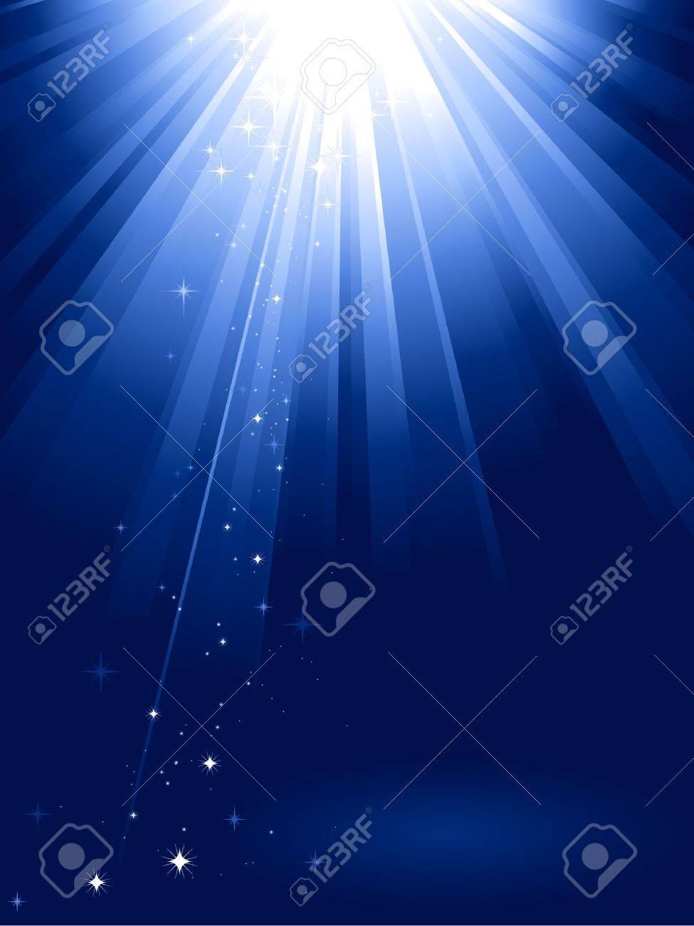 Blue light burst with sparkling stars and space for your message. 1 linear gradient, 7 global colors for easy change of color scheme. Artwork grouped and layered. Stock Vector - 5635649