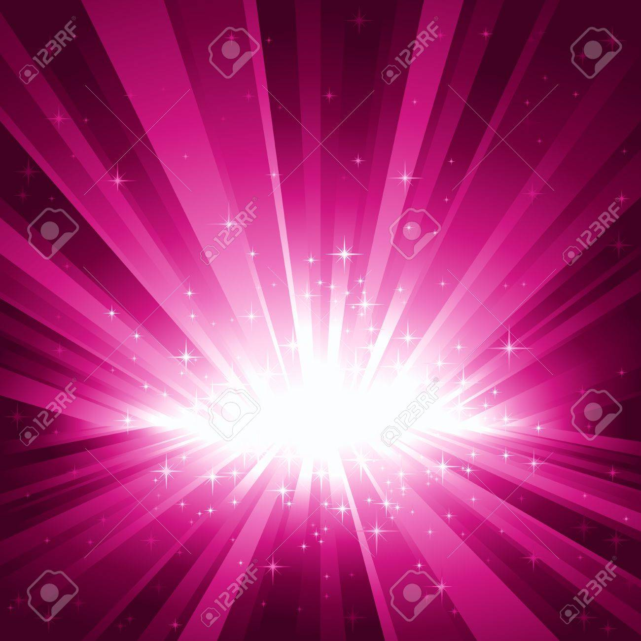 Festive purple light burst and stars with centre in lower third of the square image. Stock Vector - 5742366