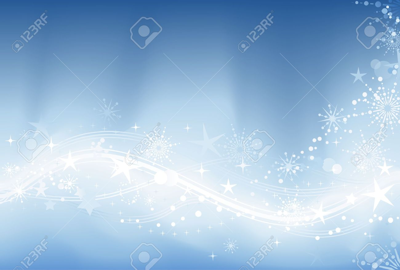 Blue abstract winter background with stars, snow flakes and grunge elements. Background made by blend with clipping mask. Stock Vector - 5849178