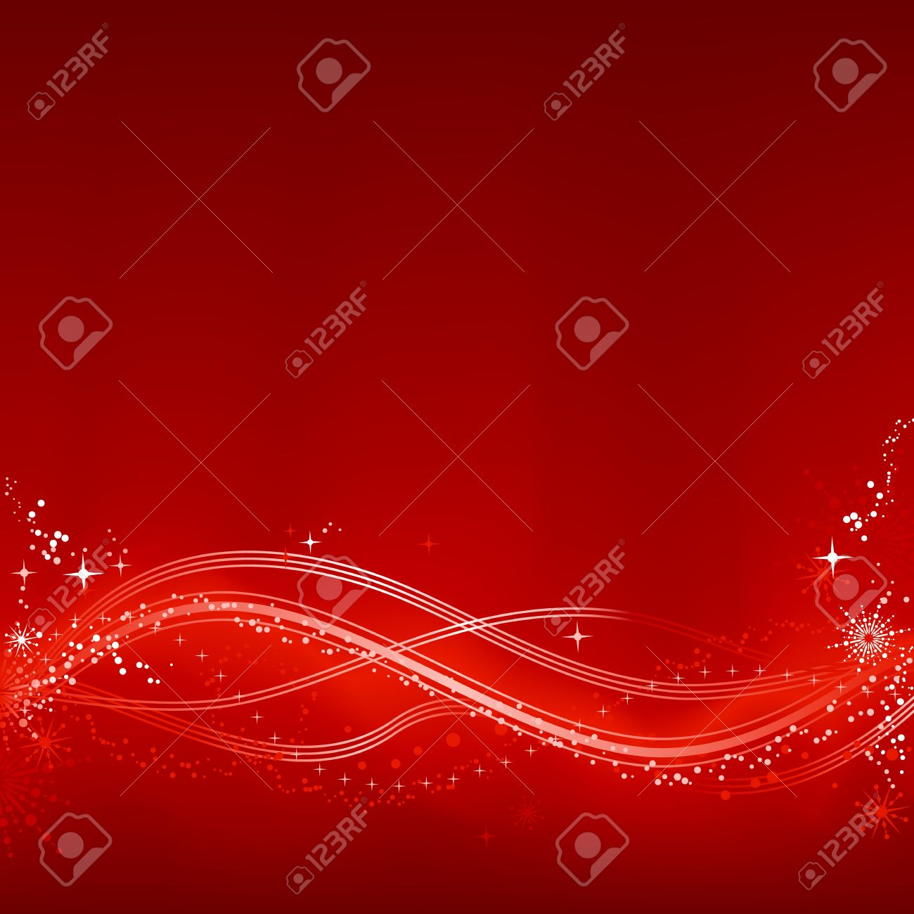 Square red white abstract Christmas background with stars, snow flakes, stars and grunge elements. Background made by blend with clipping mask, use of 7 global color swatches. Stock Vector - 5849194