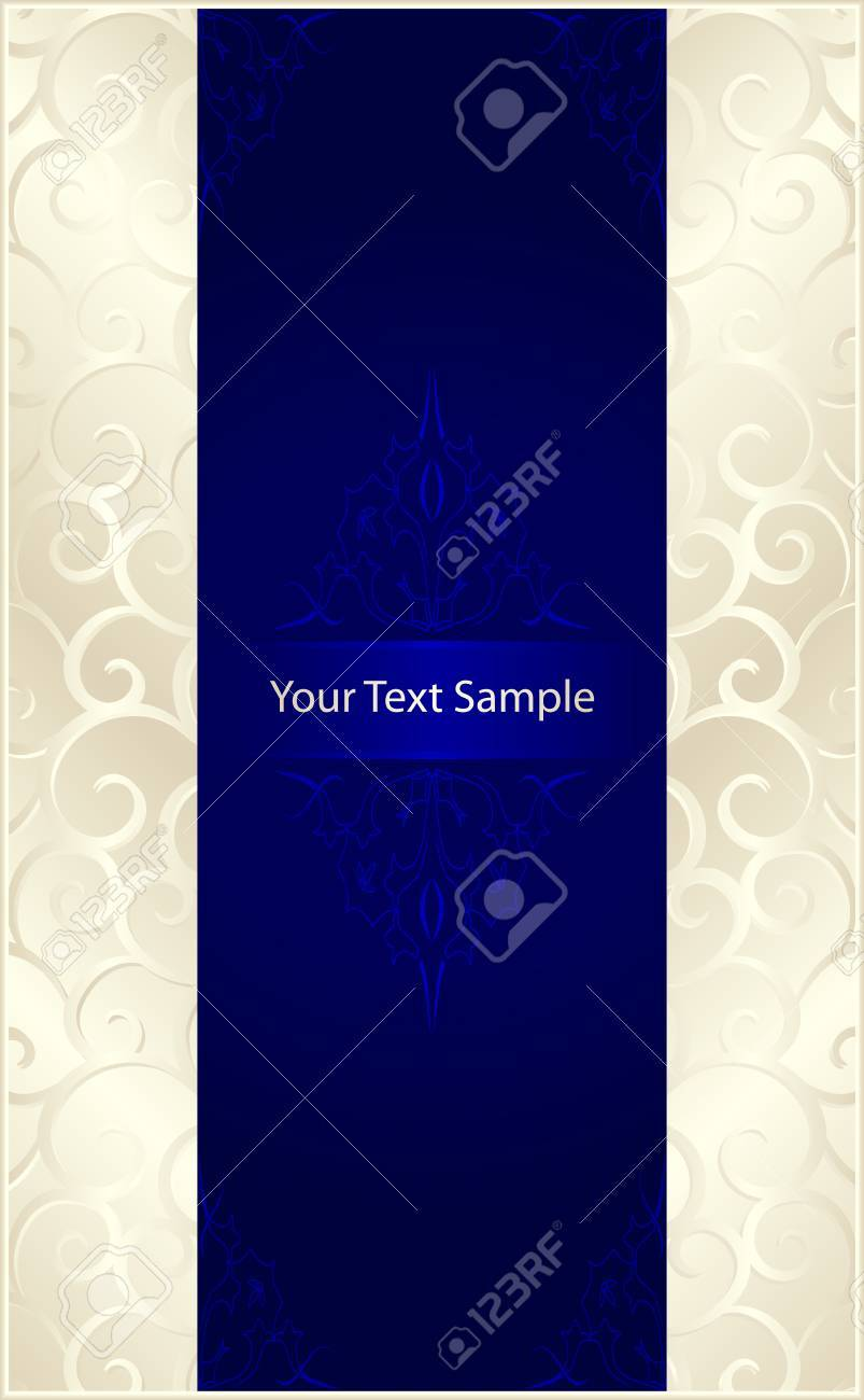 Vertical stylish template with silver beige scrolls left and right and a royal blue center with floral elements and space for our text. 7 global colors, gradients used. Stock Vector - 6470476