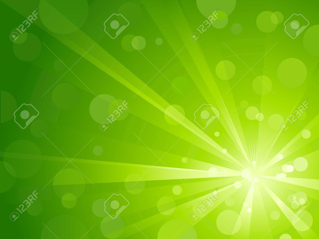 Explosion of light with shiny light dots, striking abstract background in shades of green. Stock Vector - 6989117