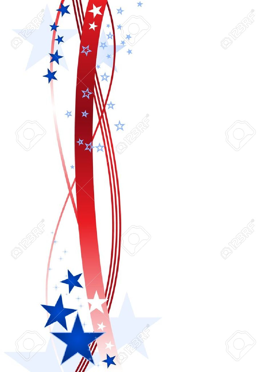 Red wavy lines and blue stars forming a patriotic border on white. - 6989126