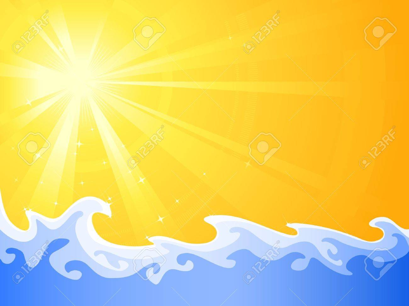 Asymmetric sunny light burst with cool relaxing water waves. Use of radial and linear gradients, global colors. Artwork neatly grouped and layered. Stock Vector - 7059255
