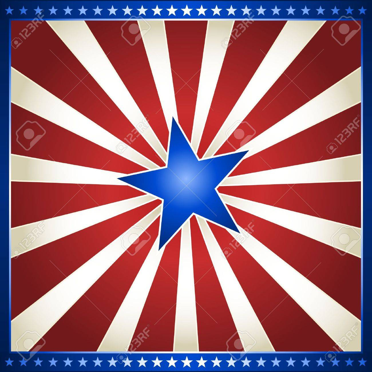 usa 4th of july red and white star burst with shiny blue centre