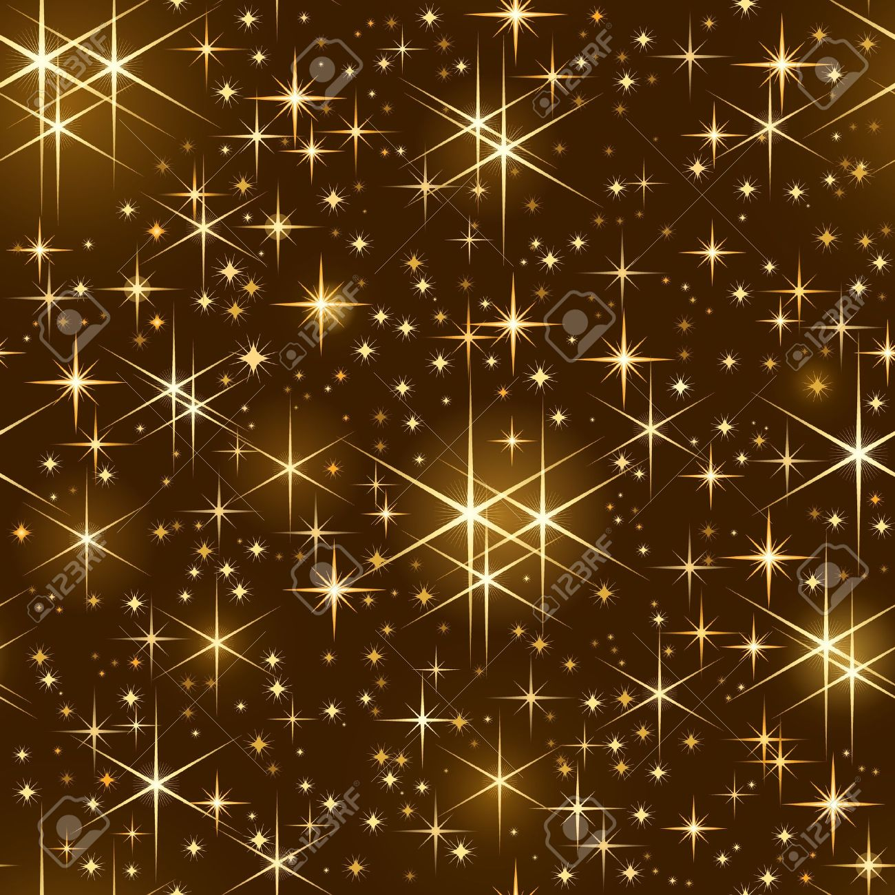 Seamlessly tiling pattern of golden shiny stars   on dark background. Use of linear and radial gradients,   global color swatches. Stock Vector - 7742100