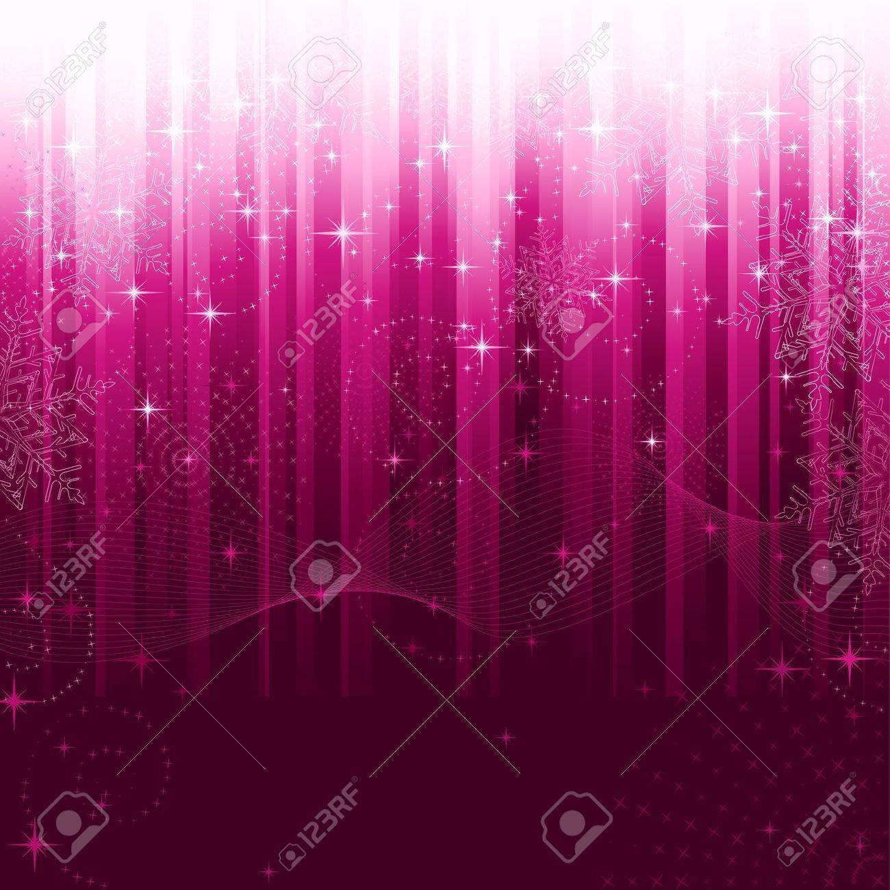 Stars, swirls, snowflakes and wavy lines on purple striped background. A pattern great for festive occasions or christmas themes. Stock Vector - 8361509