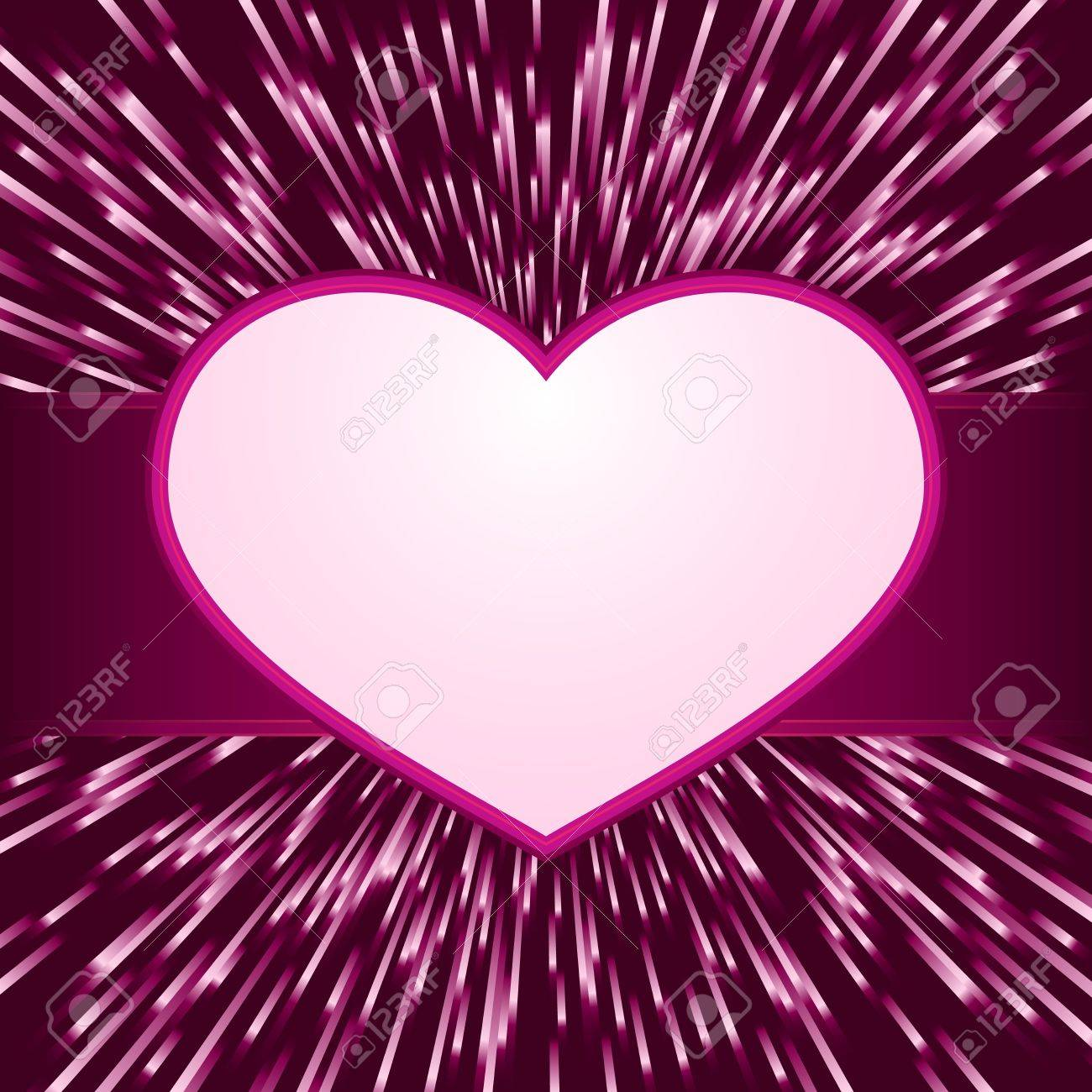 Pink purple explosion of light with centered  heart frame with space for your text. Great for your romantic designs, or for Valentines day. Stock Vector - 8557792