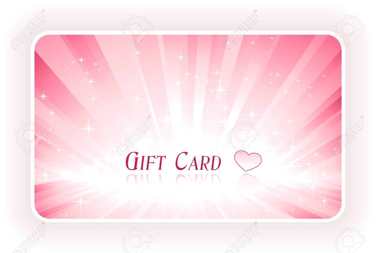 Romantic Gift Card With Light Burst And Love Heart In Shades ...