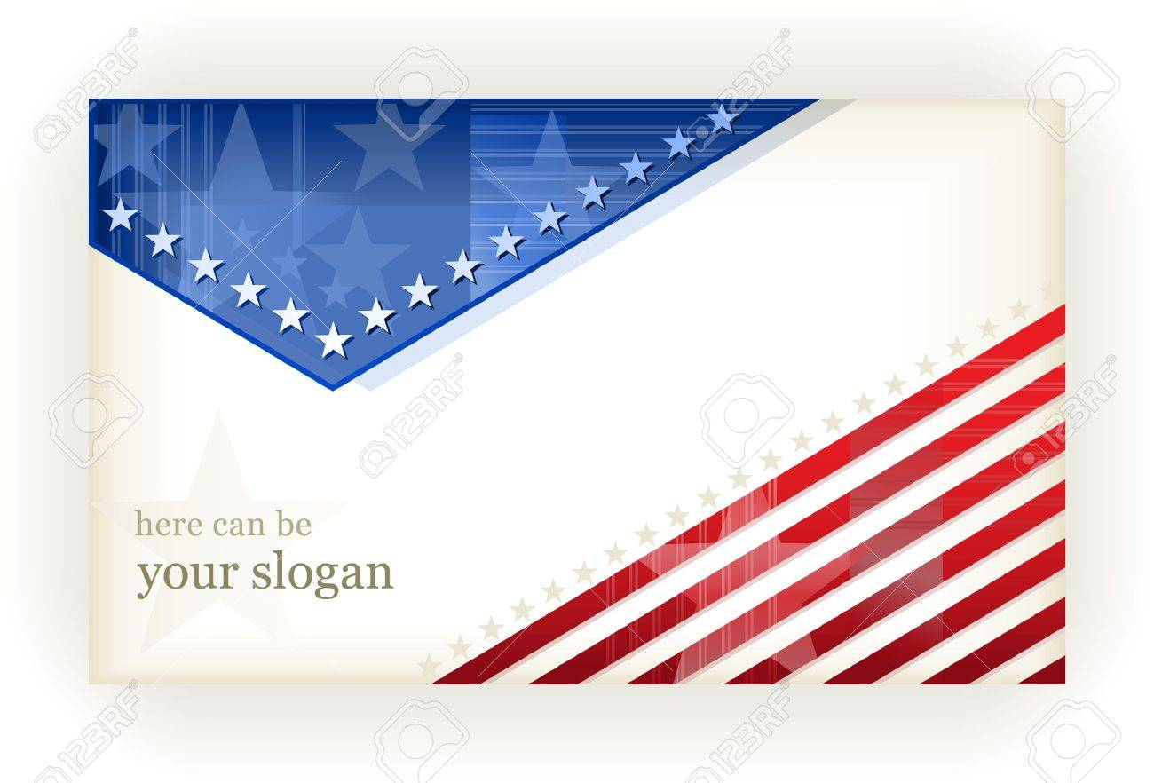 US american flag themed background, or card. No transparencies, eps8 file. Space for your text. Stock Vector - 9413481