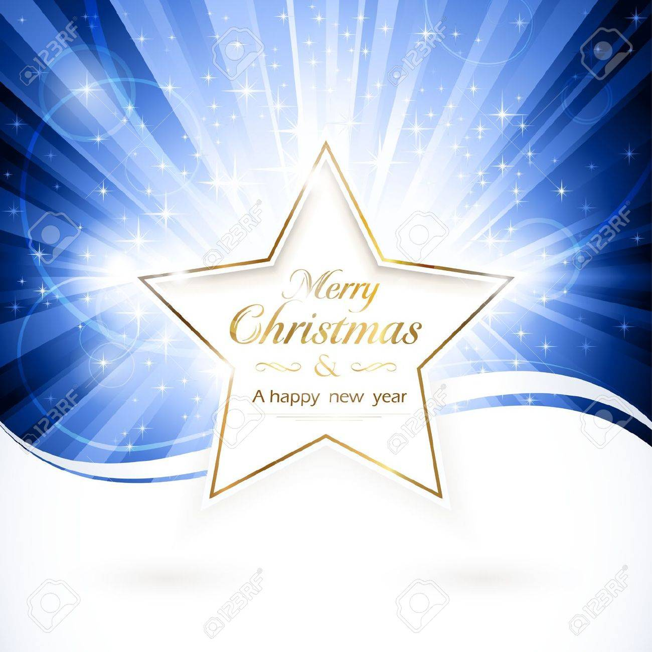Shiny Golden Star With The Words 'Merry Christmas And A Happy ...