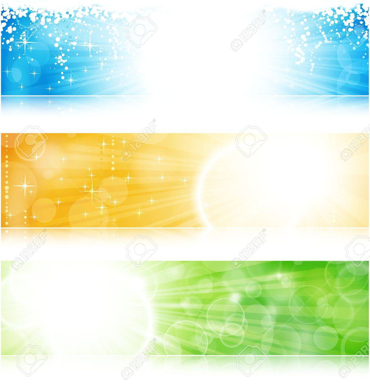 Vector header / banner light burst banner set in green, blue and gold for festive occasions with copyspace. Stock Vector - 10900292