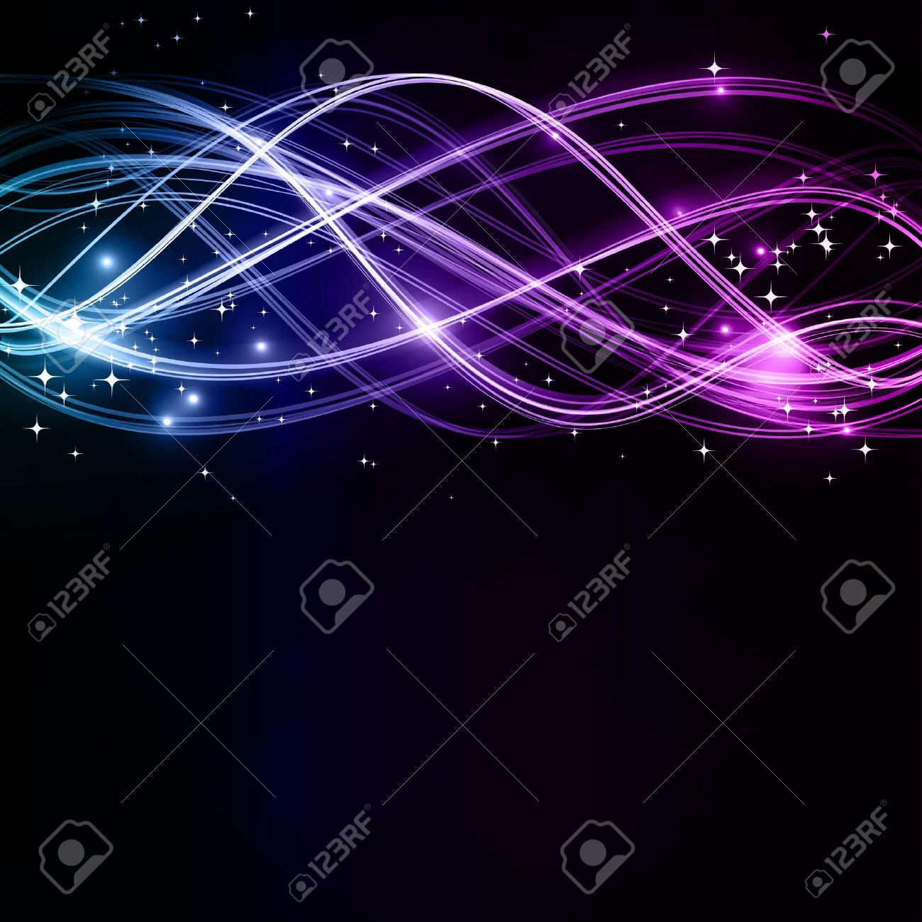 Overlaying wavy lines forming an abstract futuristic pattern on a dark background. With stars and space for your text. EPS10 Stock Vector - 11050867