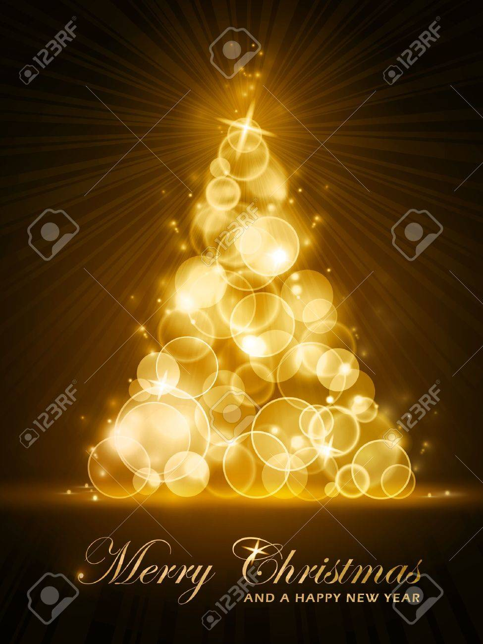 vertical christmas card with stylized golden glowing christmas