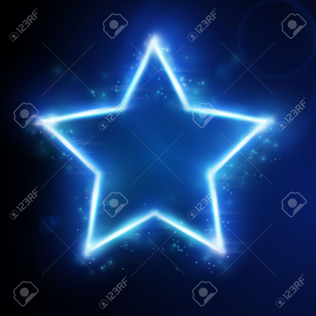 Blue star frame on dark background with space for your text. Light effects give it a glow and sparkle. Stock Vector - 11337177