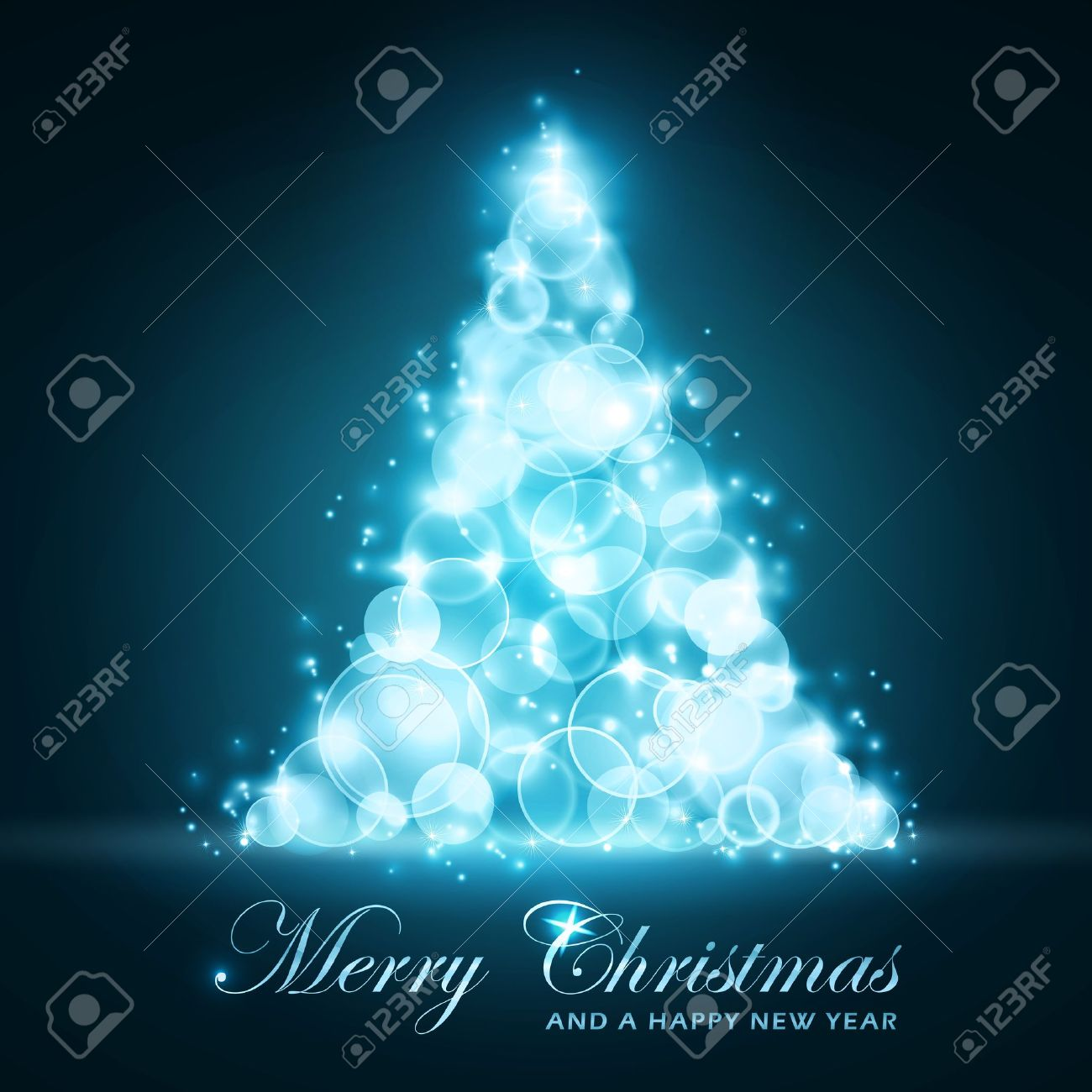 Blue glowing light dots forming a shining and sparkling Christmas tree. Christmas and New Years card. Stock Vector - 11337179
