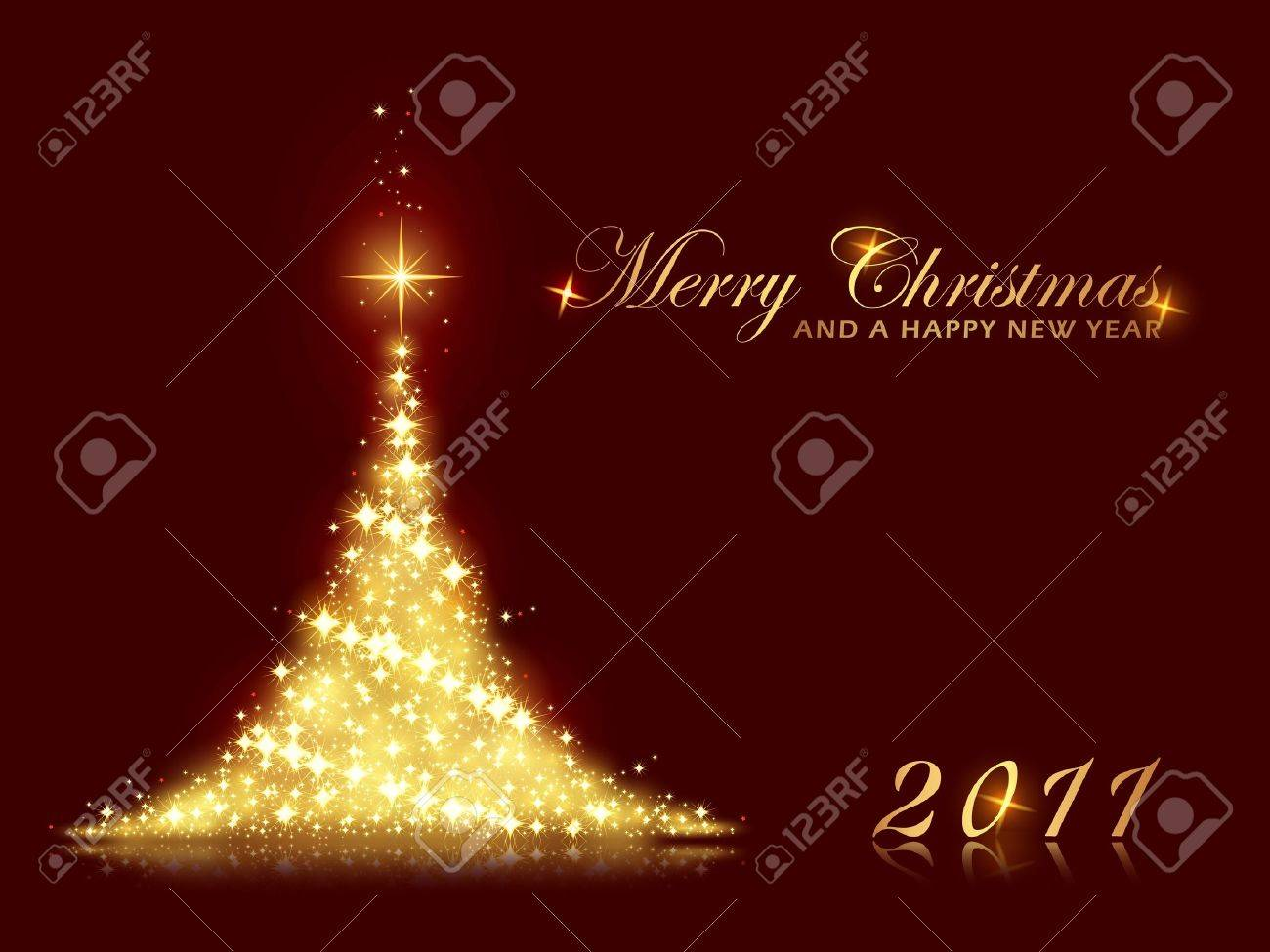 Merry Christmas And A Happy New Year Card With Shining Christmas ...