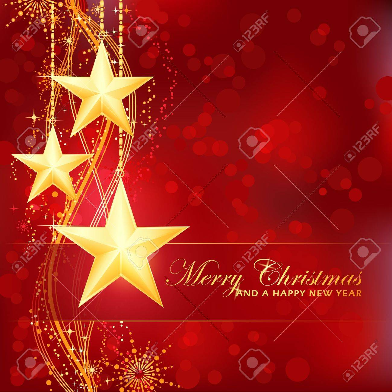 Merry Christmas background with stars, snow flakes and wavy pattern and light dots for your festive occasions Stock Vector - 11472370
