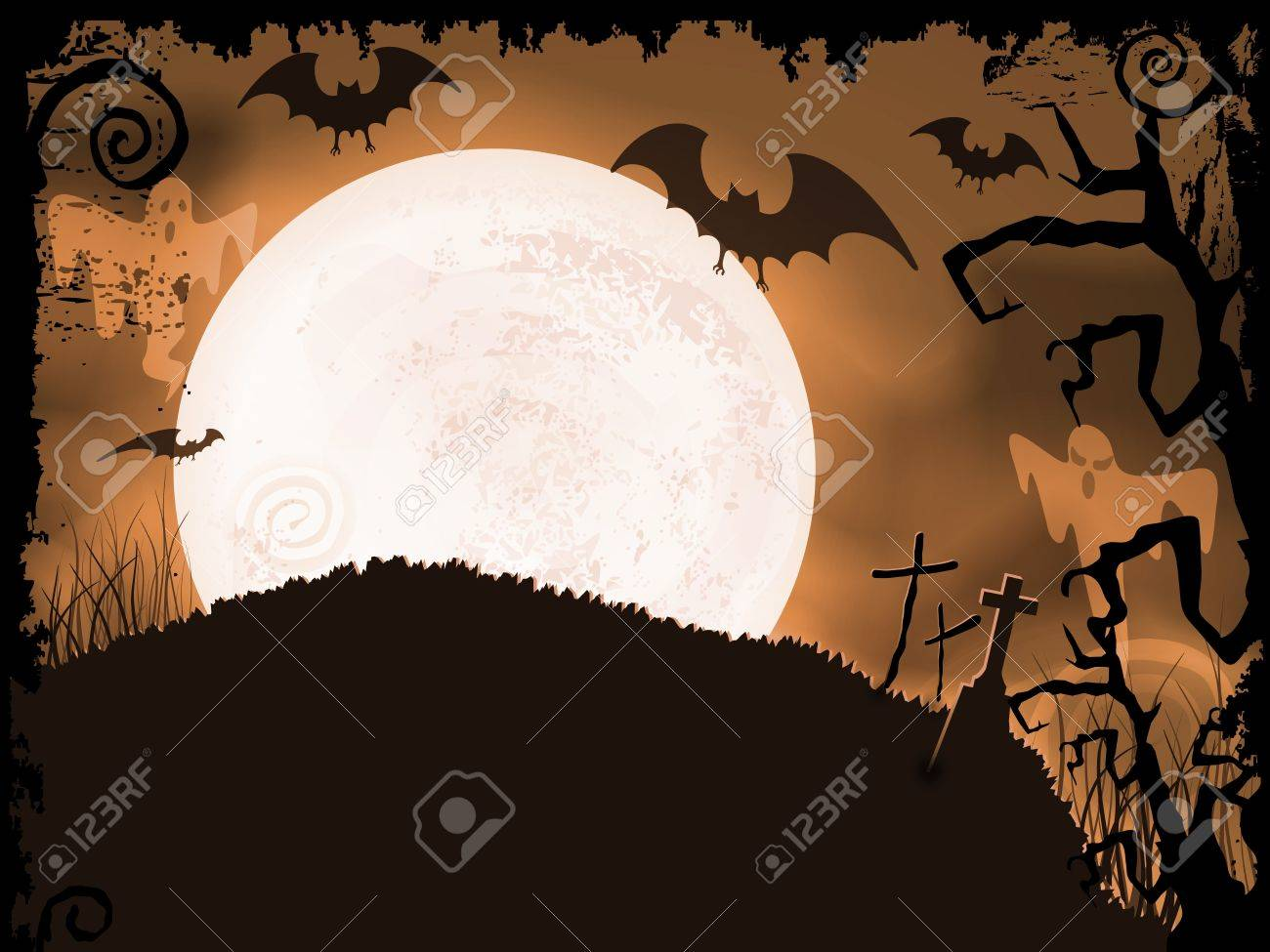Halloween background with full moon, bats, ghosts, crosses and grunge elements. Stock Vector - 15627289