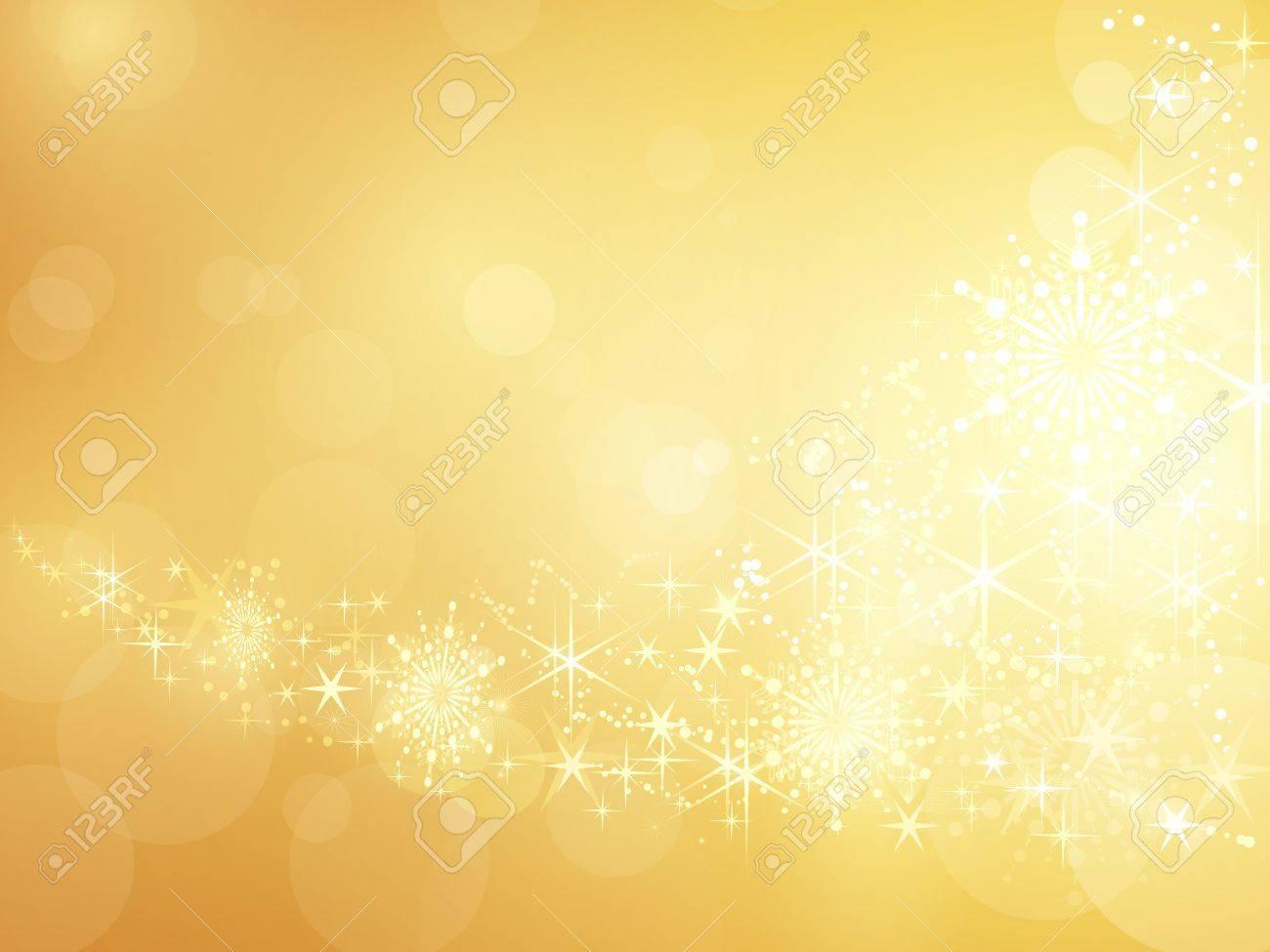 Fond Doré festive fond doré avec des étoiles brillantes, les flocons de neige