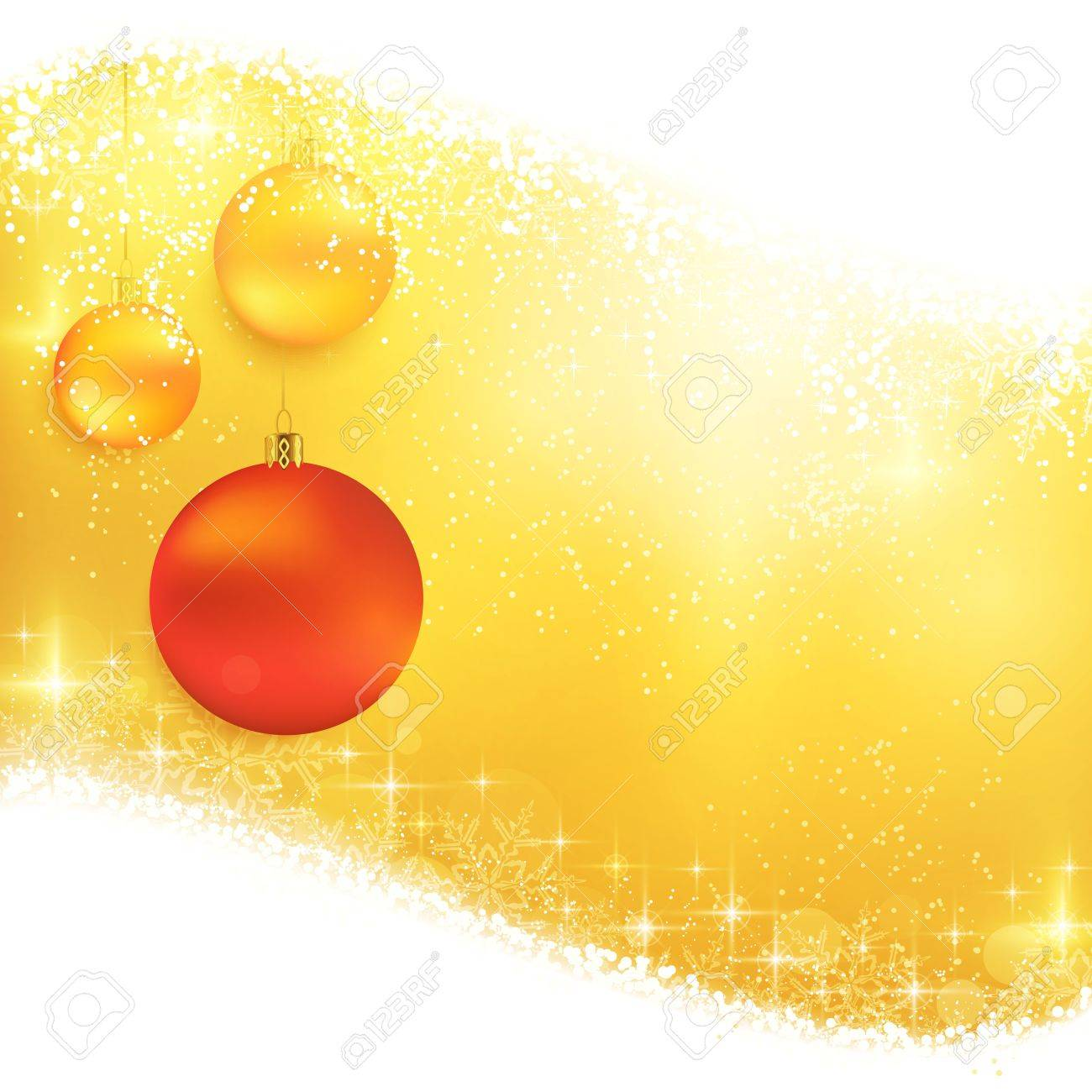 Hanging Christmas ornaments on a shiny golden background with light effects, magical stars and glittering snowflakes. Great for the festive season of Christmas Stock Vector - 16519312