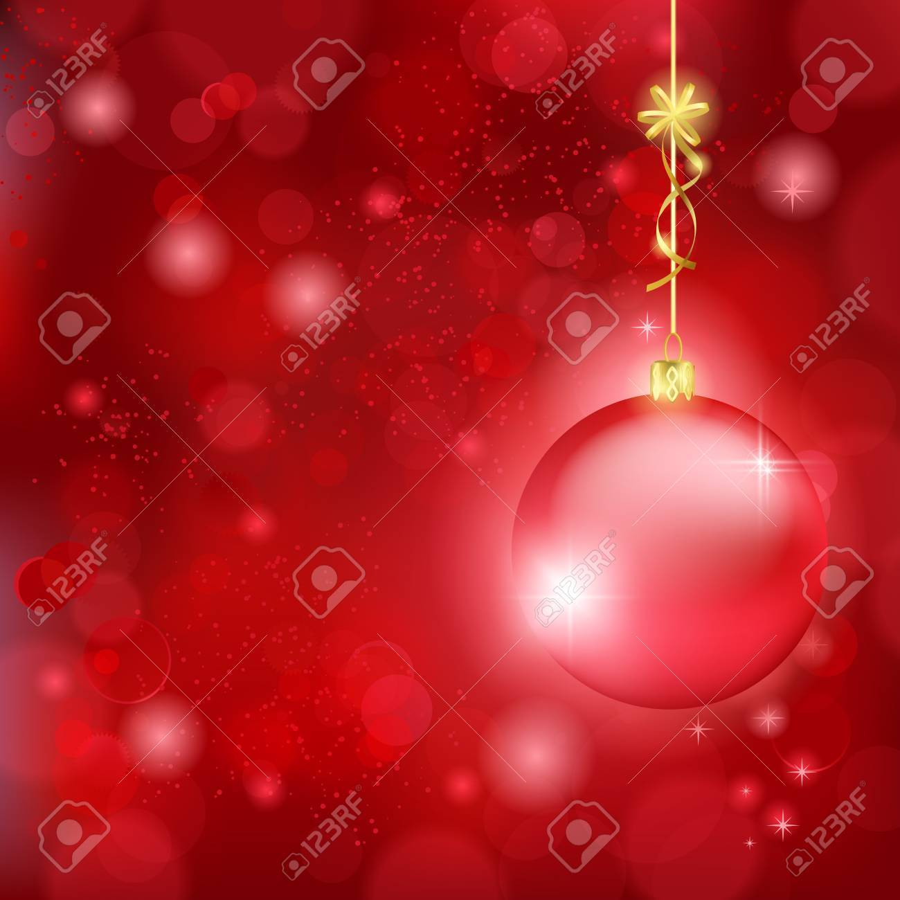 Blurry lights on dark red background and a red bauble hanging with a golden bow. Great backdrop for Christmas themes. Space for your text. Stock Vector - 16519292