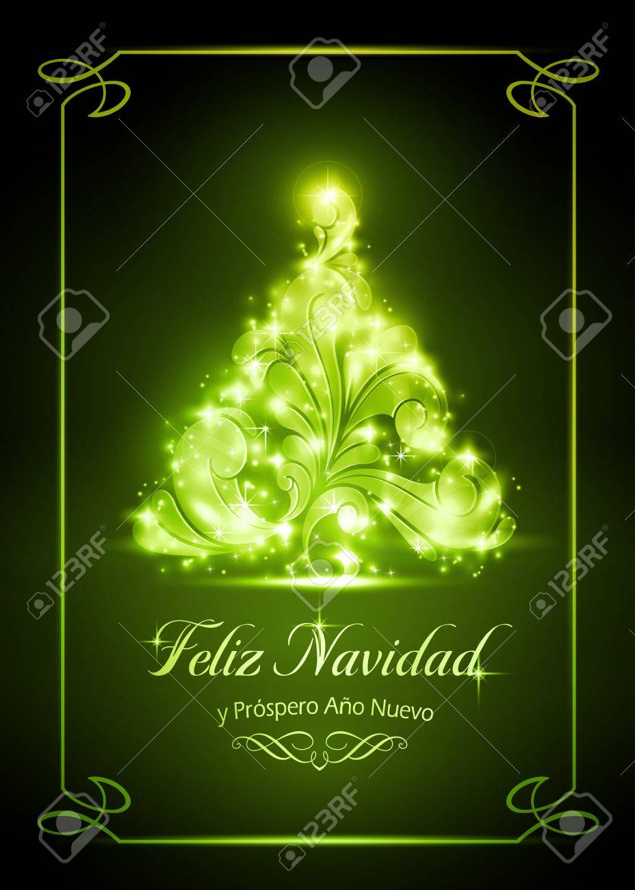 Warmly sparkling Christmas tree on dark green background Stock Vector - 16519293