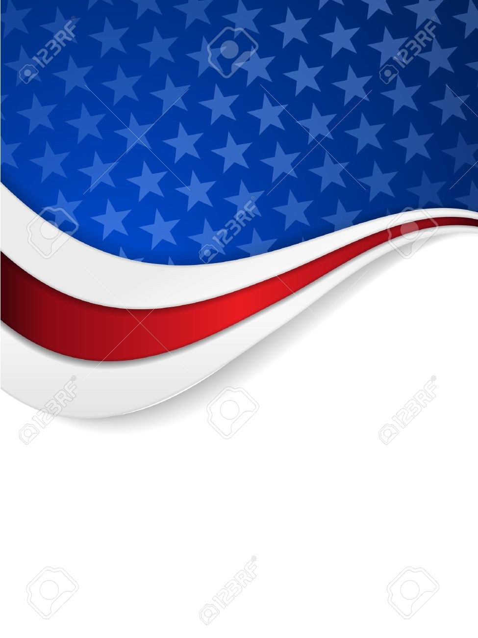 Abstract background with wavy pattern and space for your text.Stars on dark blue background with wavy stripes in red and white make it a great backdrop for USA themes, like Independent Day, etc. Stock Vector - 19060621