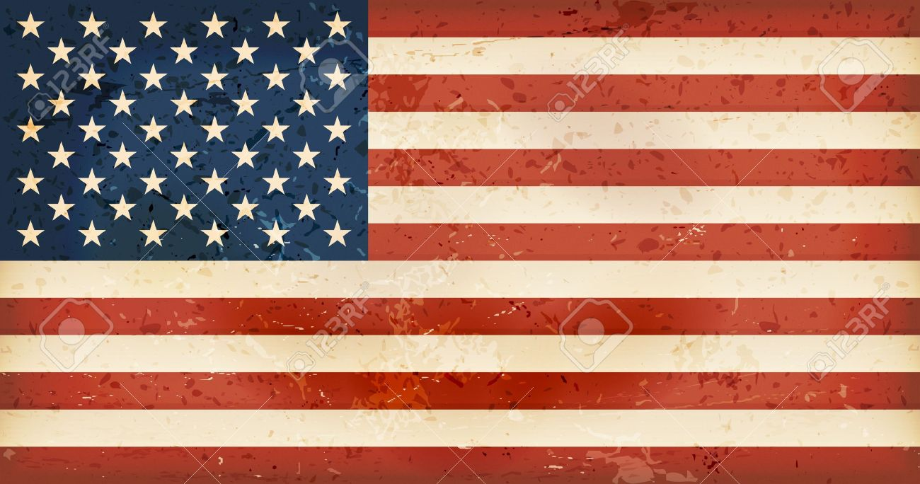Vintage style flag of the United States of America. Grunge Elements give it an used and dirty feeling. Hoist (width) / Fly (length) of the flag = 1 to 1.9 - 19251149