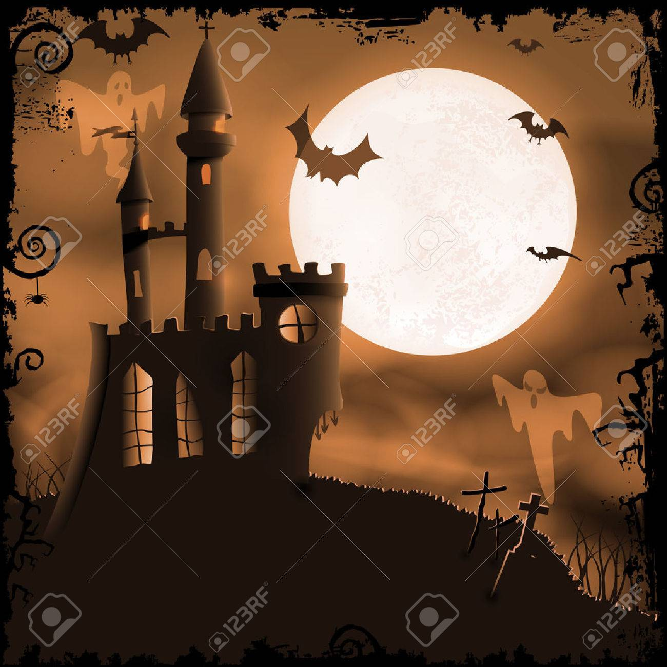 Halloween background with haunted castle, bats, ghosts, full moon and  grunge elements Stock Vector - 22284113