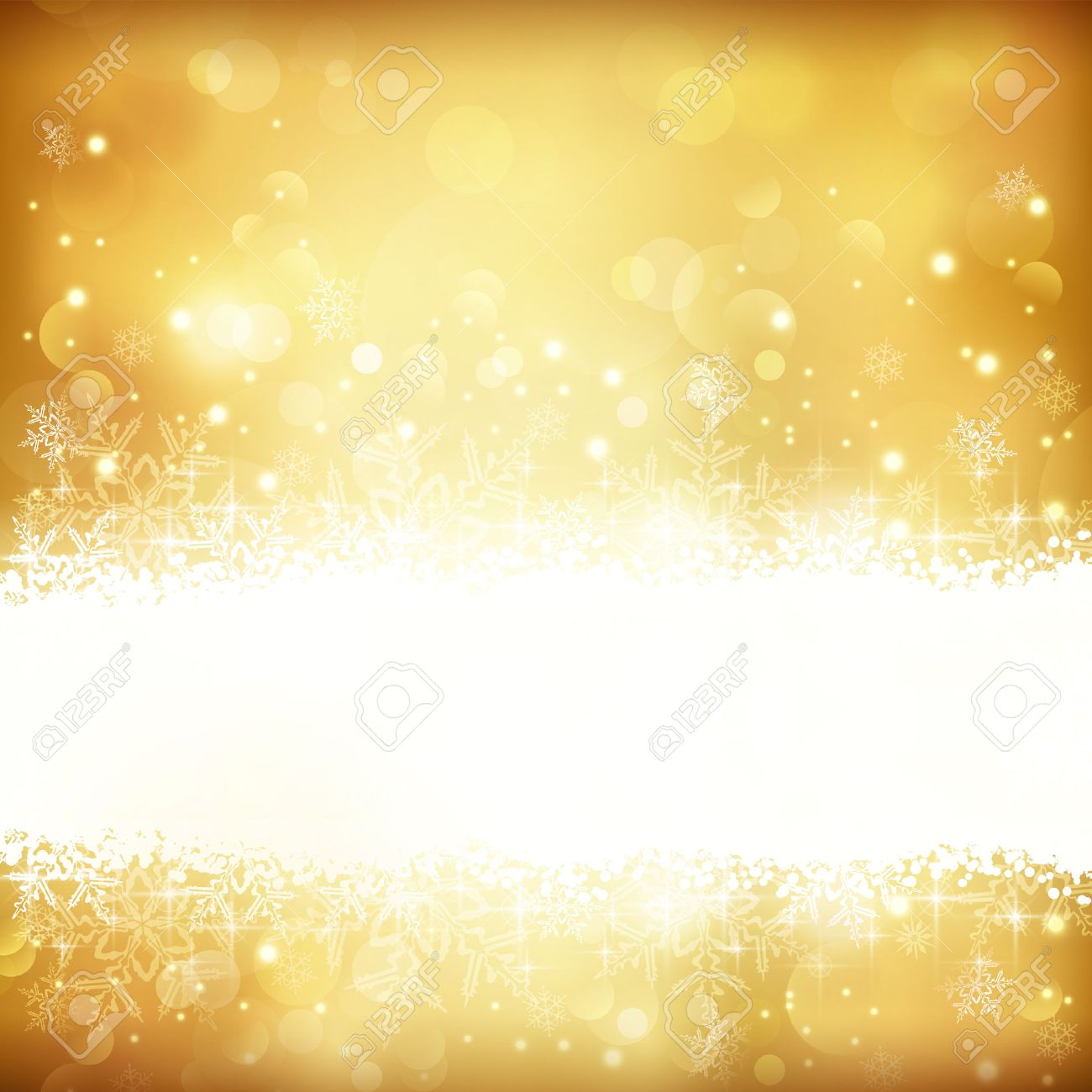 Festive gold background with out of focus light dots, stars,snowflakes and copy space. Stock Vector - 23848760