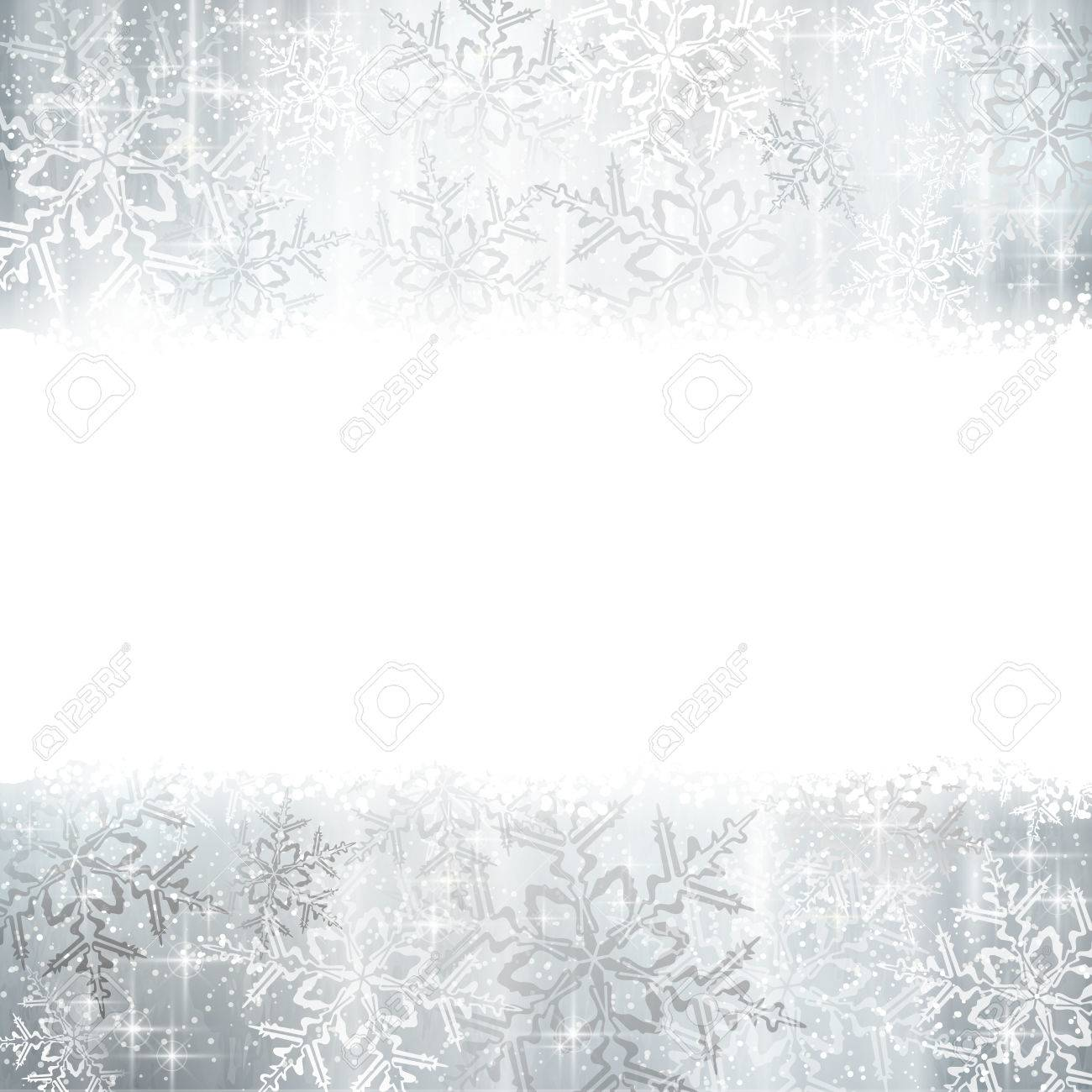 Silver and white snowflakes on a Christmas, winter card with copy space Stock Vector - 23848762