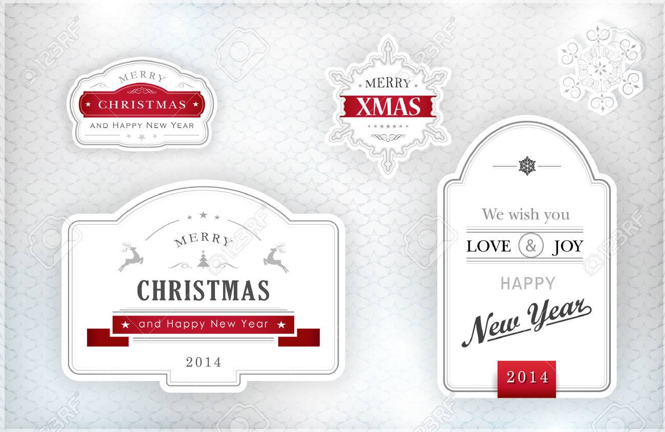 set of merry christmas and happy new year labels and snowflakes in elegant shades of gray silver white and red on textured silver background with light