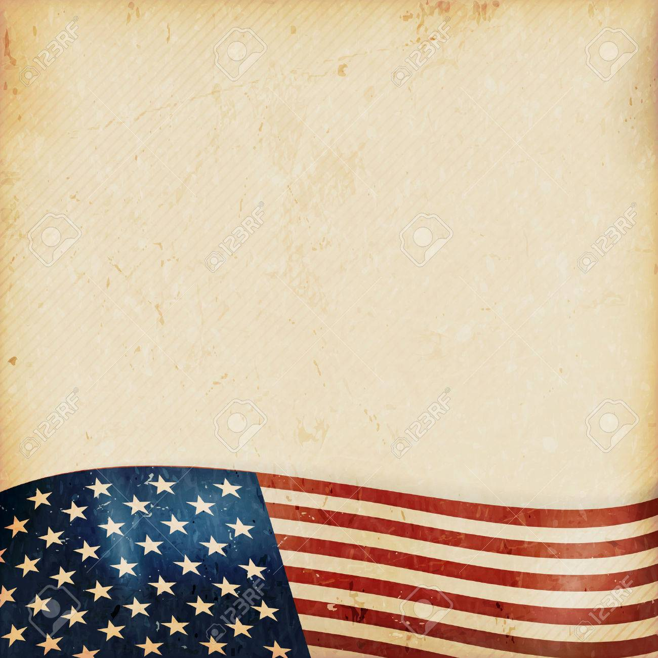 Vintage style grunge background with USA flag at the bottom. Grunge Elements and a faintly striped beige brown background give it a feeling resembling old paper, parchment. - 29473936