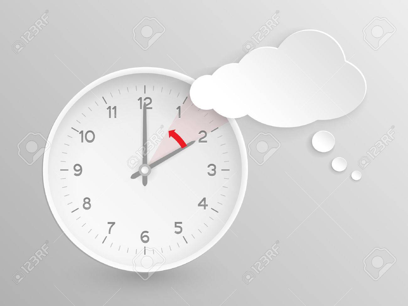 Cloud shaped speech bubble and vector clock with hands at 2 o'clock and an red arrow symbolizing the hour backward to 1 o'clock for the change of time in autumn, fall in America on silver background. - 31759525