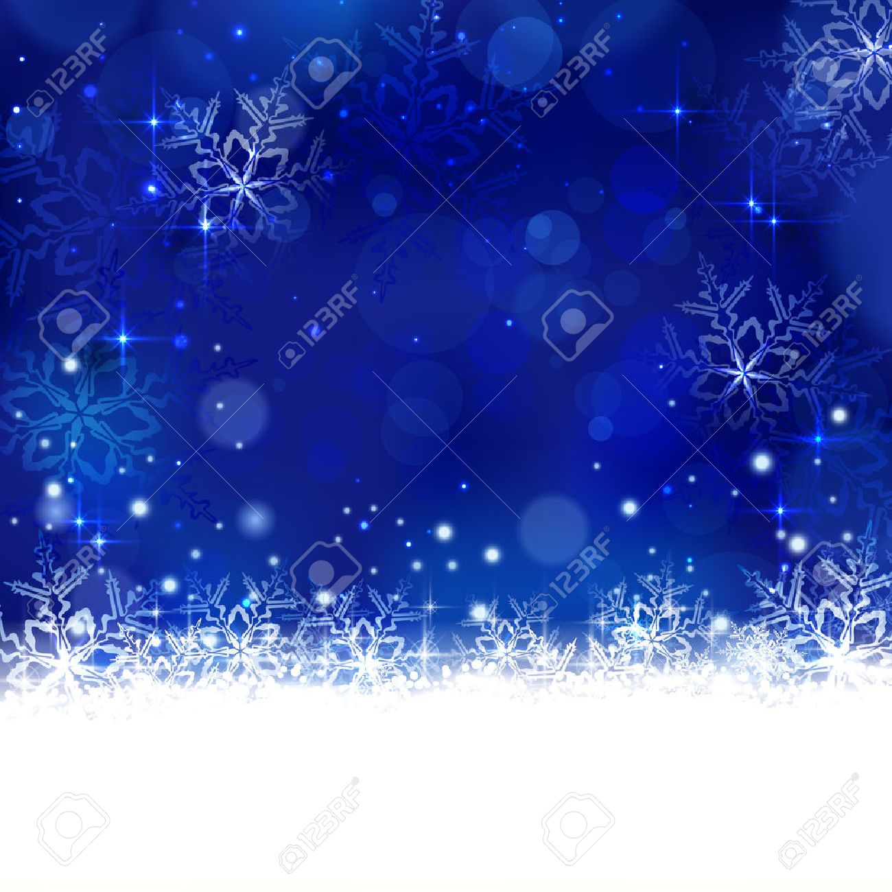Christmas background with shiny light effects, blurry lights, and glittering snowflakes in shades of blue. Great for the any winter design and festive season of Christmas to come. - 33003661