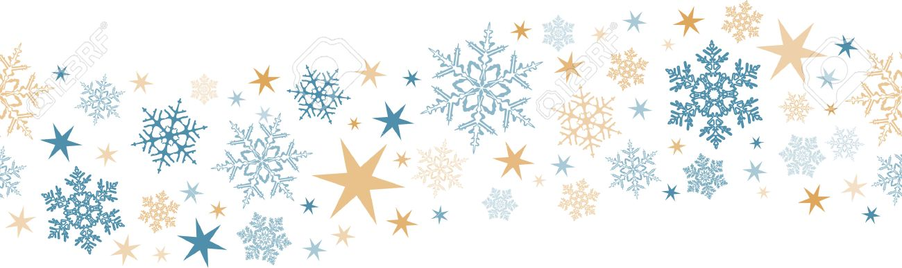 Wavy border design with snow flakes and stars that will tile seamlessly horizontally. Great for decoration of any winter or Christmas design. Stock Vector - 33228659