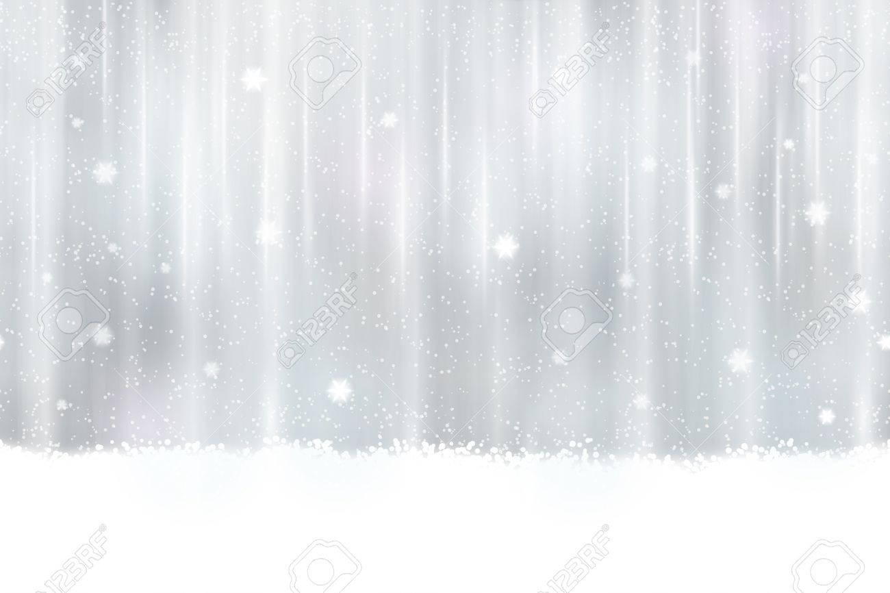 Abstract silver background design. Snowfall and light effects give it a dreamy, soft feeling and a glow perfect for the festive Christmas season. Seamless horizontally - 33347076