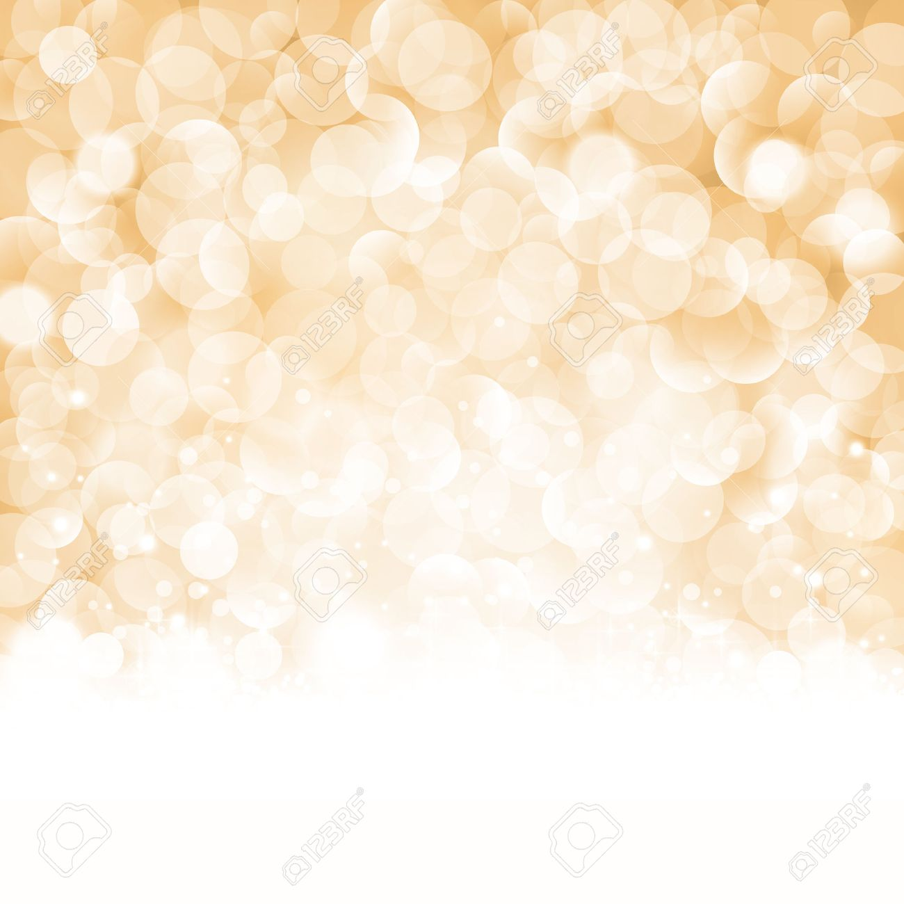 Christmas background with light effects and blurry light dots in shades of beige, golden and white. Centered is a label with the lettering Merry Christmas and Happy New Year. - 33502397