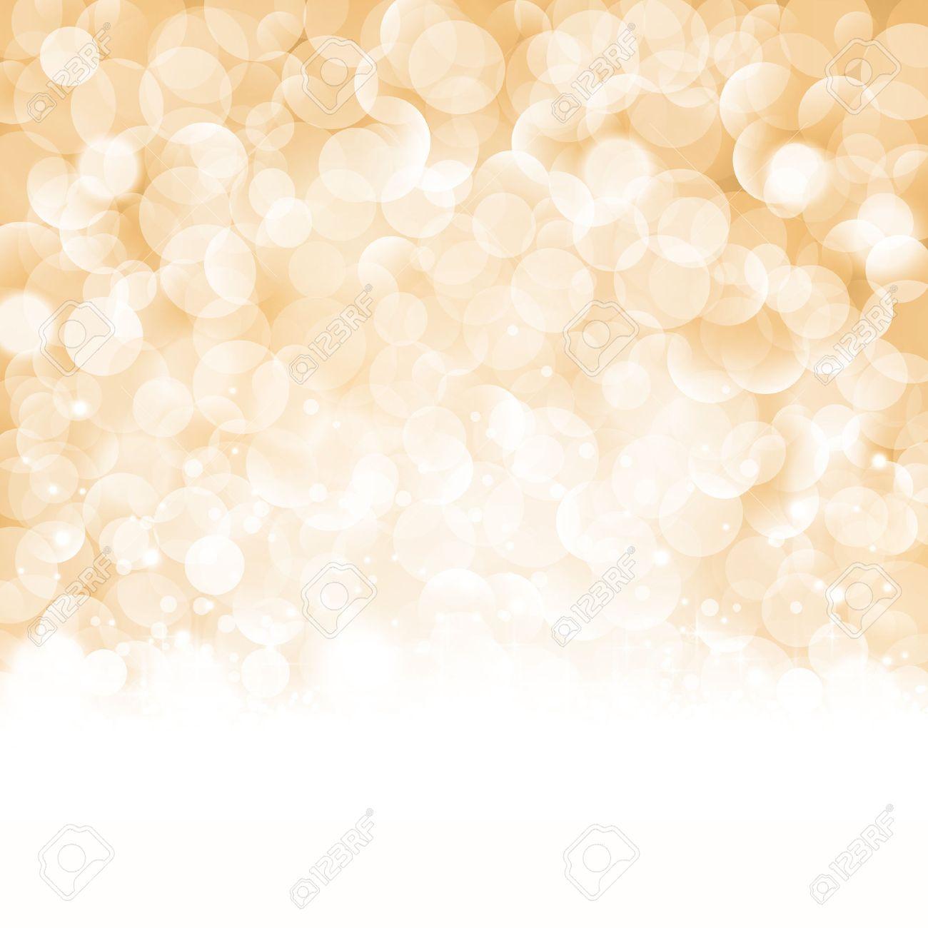 Sfondi Natalizi Oro.Sfondo Natale Con Effetti Di Luce E Punti Luce Sfocate Nei Toni Del Beige Oro E Nero Centrato E Una Etichetta Con La Scritta Buon Natale E Felice